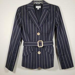 >>>TALBOTS navy blue striped blazer w/ belt *Sz10